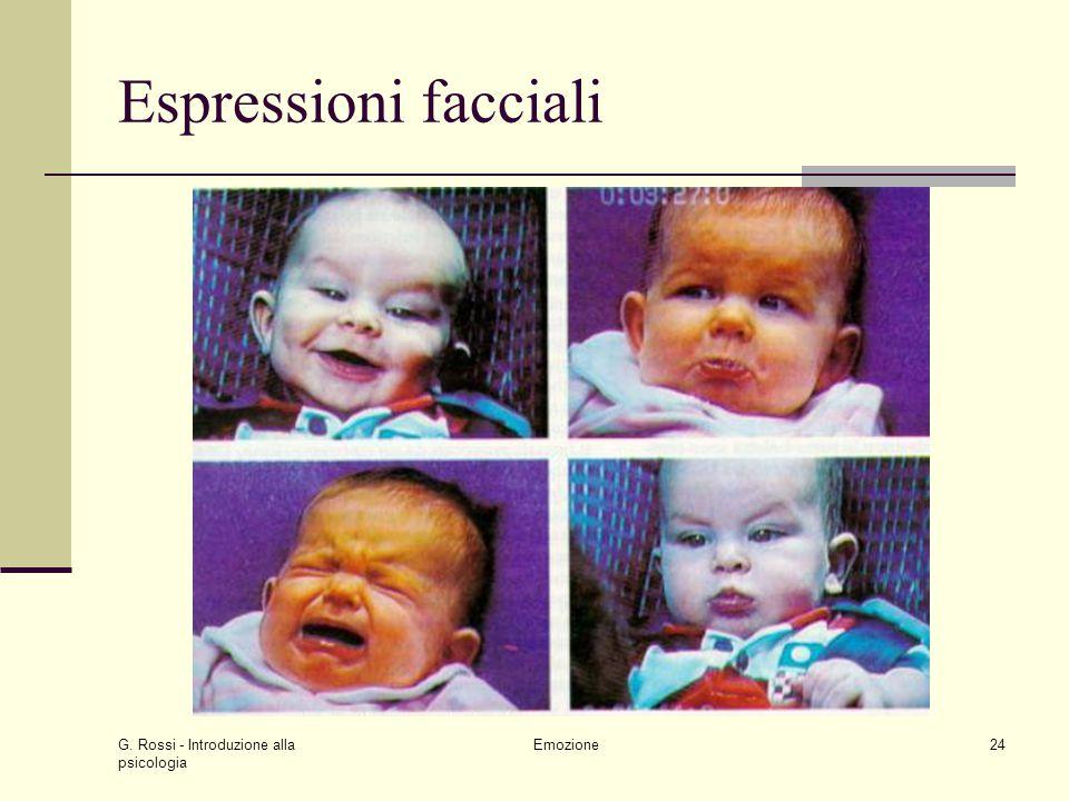 G. Rossi - Introduzione alla psicologia Emozione24 Espressioni facciali