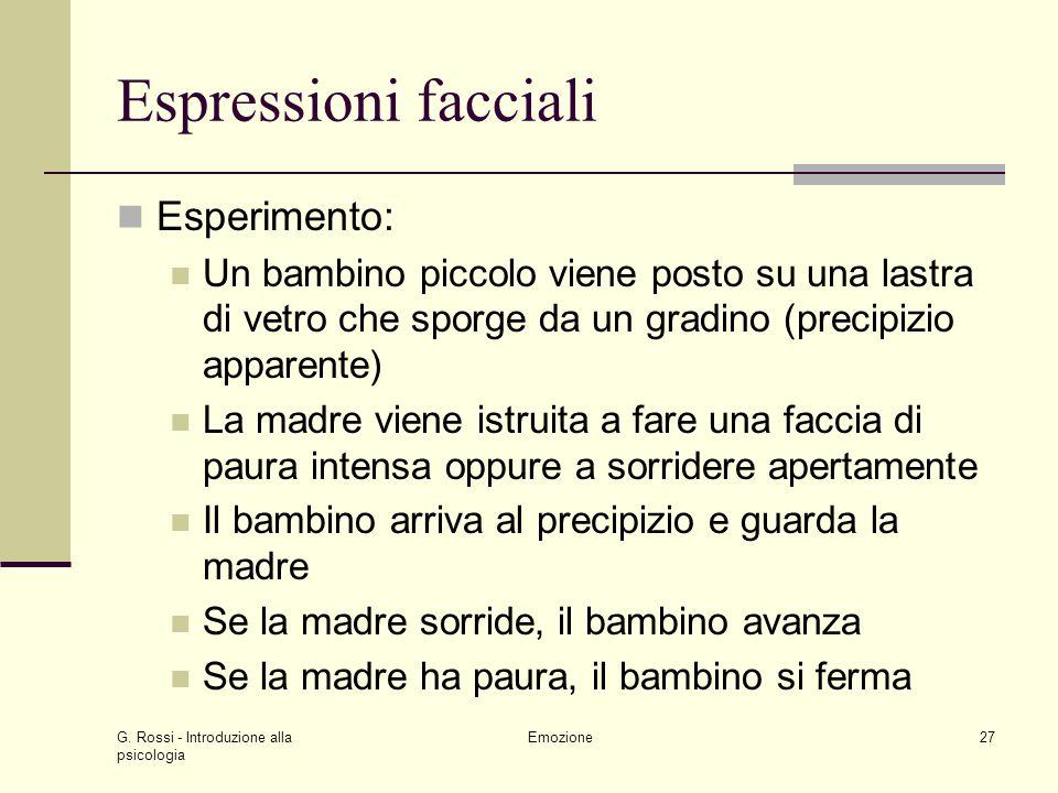G. Rossi - Introduzione alla psicologia Emozione27 Espressioni facciali Esperimento: Un bambino piccolo viene posto su una lastra di vetro che sporge