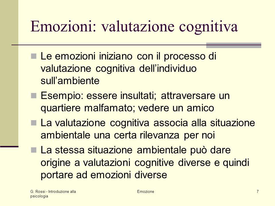 G. Rossi - Introduzione alla psicologia Emozione7 Emozioni: valutazione cognitiva Le emozioni iniziano con il processo di valutazione cognitiva dellin
