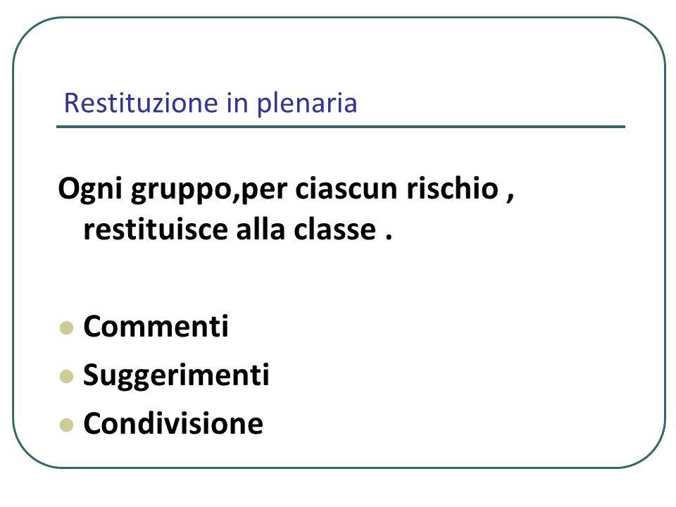 Restituzione in plenaria Ogni gruppo,per ciascun rischio, restituisce alla classe. Commenti Suggerimenti Condivisione