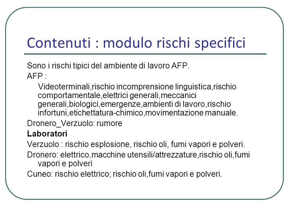 Contenuti : modulo rischi specifici Sono i rischi tipici del ambiente di lavoro AFP. AFP : Videoterminali,rischio incomprensione linguistica,rischio c