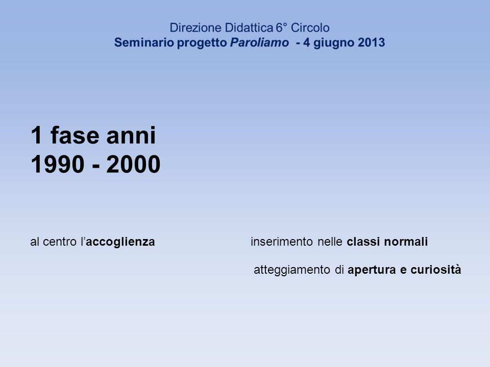 1 fase anni 1990 - 2000 al centro laccoglienzainserimento nelle classi normali atteggiamento di apertura e curiosità