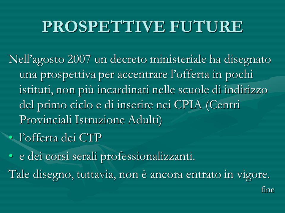 PROSPETTIVE FUTURE Nellagosto 2007 un decreto ministeriale ha disegnato una prospettiva per accentrare lofferta in pochi istituti, non più incardinati