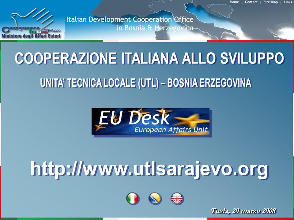 La cooperazione Italiana è presente in Bosnia Erzegovina dal 1992, lUnità Tecnica Locale nella città di Sarajevo è stata istituita nel 1997.