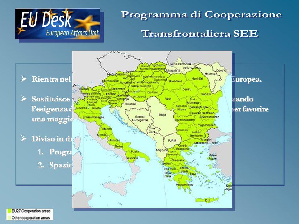 Rientra nel nuovo obiettivo di Cooperazione Territoriale Europea.