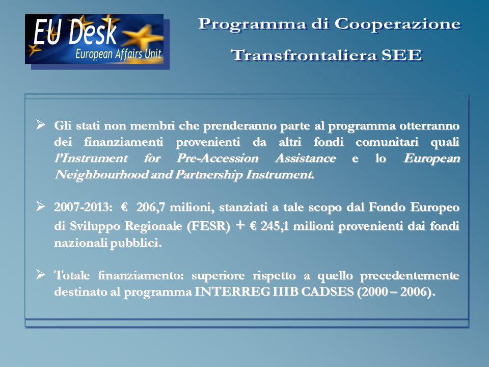 I progetti realizzati nell ambito del programma richiedono la partecipazione di almeno 3 paesi partners, di cui almeno uno deve essere un paese membro.