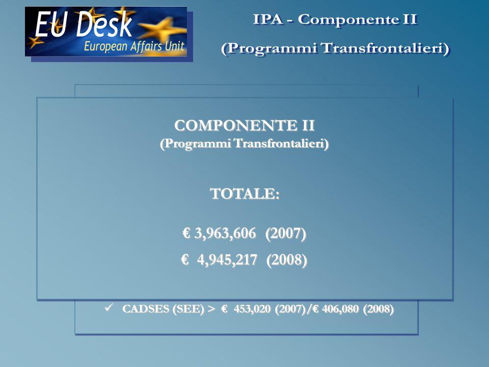 AMMONTARE TOTALE BiH (COMPONENTI I & II) 62,100,000 (2007) 62,100,000 (2007) 74,800,000 (2008)* 74,800,000 (2008)* * Il budget previsto per il 2009 dovrebbe ammontare a circa 89.2 milioni, mentre quello previsto per il 2010 dovrebbe essere di circa 100 milioni.