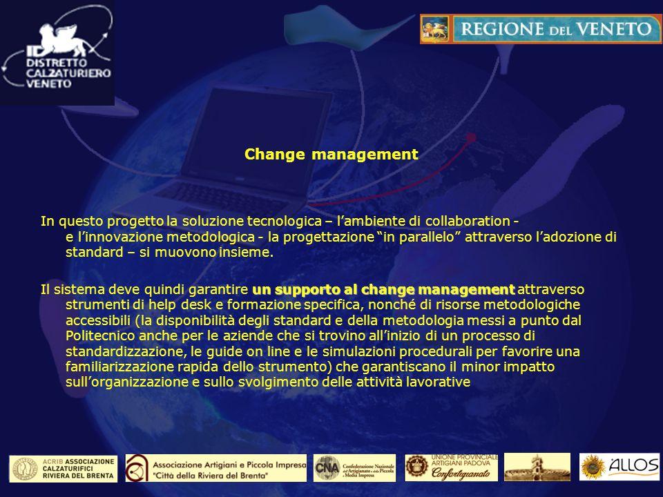 Change management In questo progetto la soluzione tecnologica – lambiente di collaboration - e linnovazione metodologica - la progettazione in parallelo attraverso ladozione di standard – si muovono insieme.