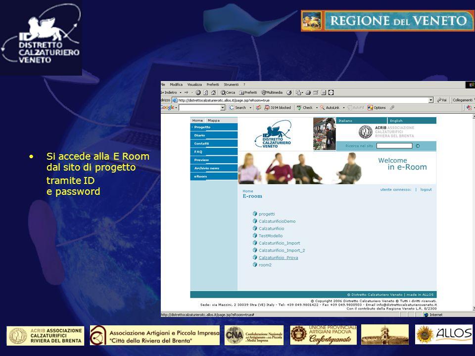 Laccesso al sistema Si accede alla E Room dal sito di progetto tramite ID e password