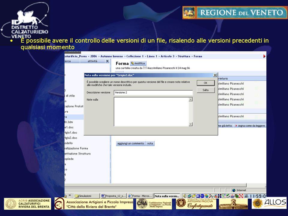 Il controllo sulle versioni dei file È possibile avere il controllo delle versioni di un file, risalendo alle versioni precedenti in qualsiasi momento