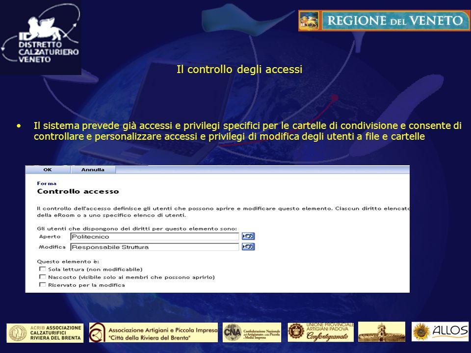 Il controllo degli accessi Il sistema prevede già accessi e privilegi specifici per le cartelle di condivisione e consente di controllare e personalizzare accessi e privilegi di modifica degli utenti a file e cartelle