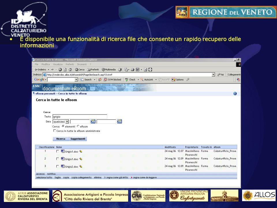 La funzione di ricerca dei file È disponibile una funzionalità di ricerca file che consente un rapido recupero delle informazioni