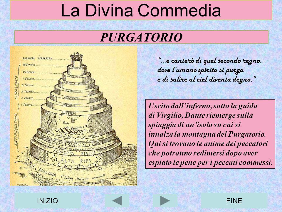 INIZIOFINE La Divina Commedia PURGATORIO Uscito dallinferno, sotto la guida di Virgilio, Dante riemerge sulla spiaggia di unisola su cui si innalza la