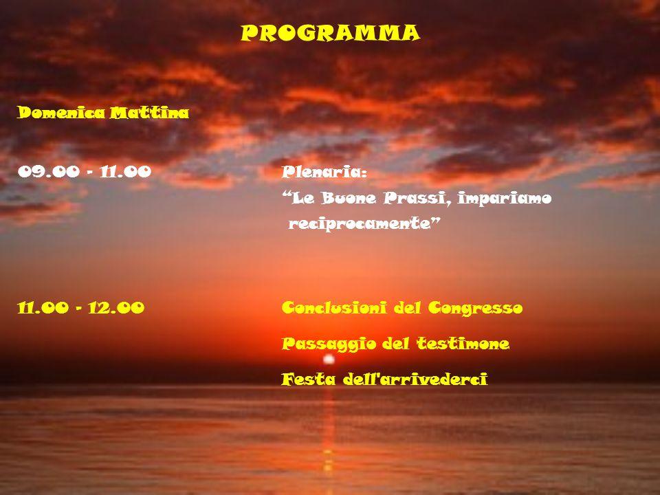 PROGRAMMA Domenica Mattina 09.00 - 11.00Plenaria: Le Buone Prassi, impariamo reciprocamente 11.00 - 12.00Conclusioni del Congresso Passaggio del testi