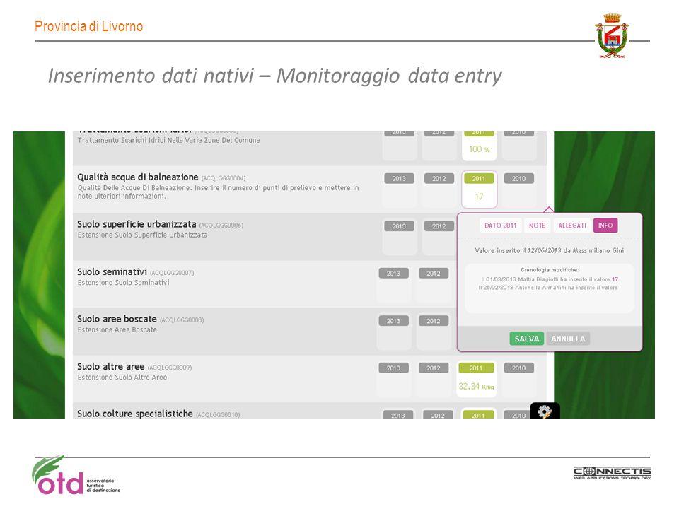 Provincia di Livorno Inserimento dati nativi – Monitoraggio data entry