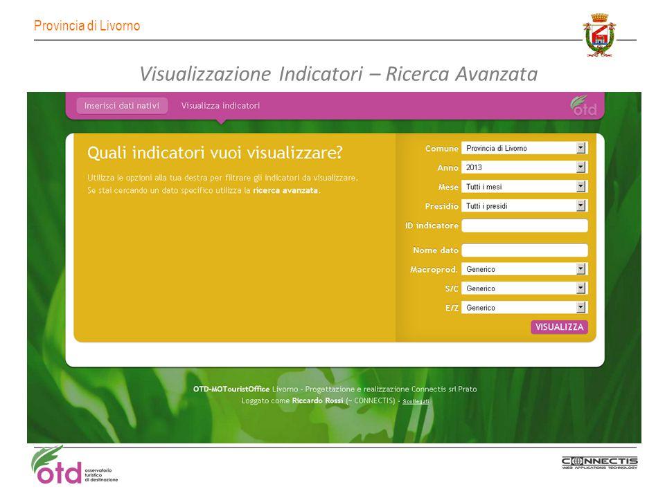 Provincia di Livorno Visualizzazione Indicatori – Ricerca Avanzata