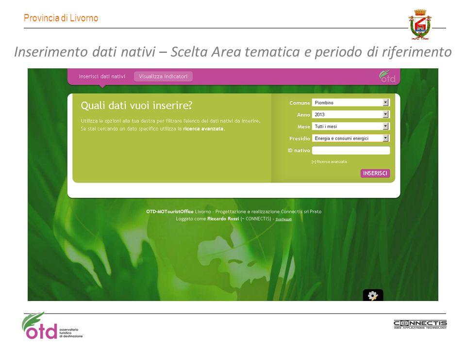 Provincia di Livorno Inserimento dati nativi – Scelta Area tematica e periodo di riferimento