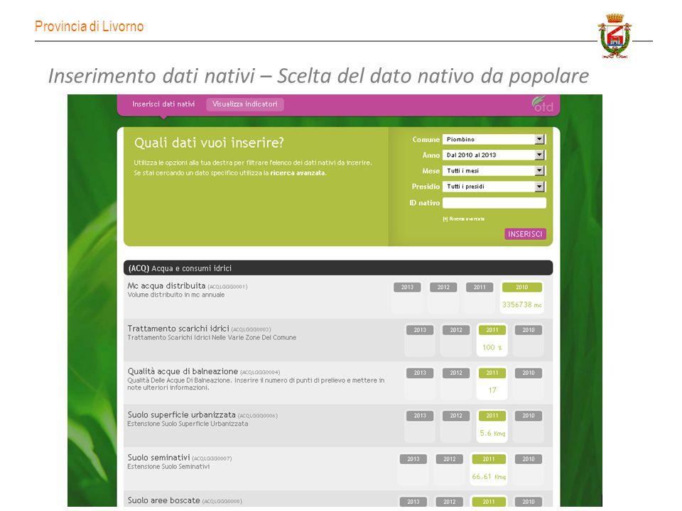 Provincia di Livorno I vantaggi per gli operatori Focalizzazione sul data entry dei soli dati nativi (non è richiesto al Comune il calcolo degli indicatori).