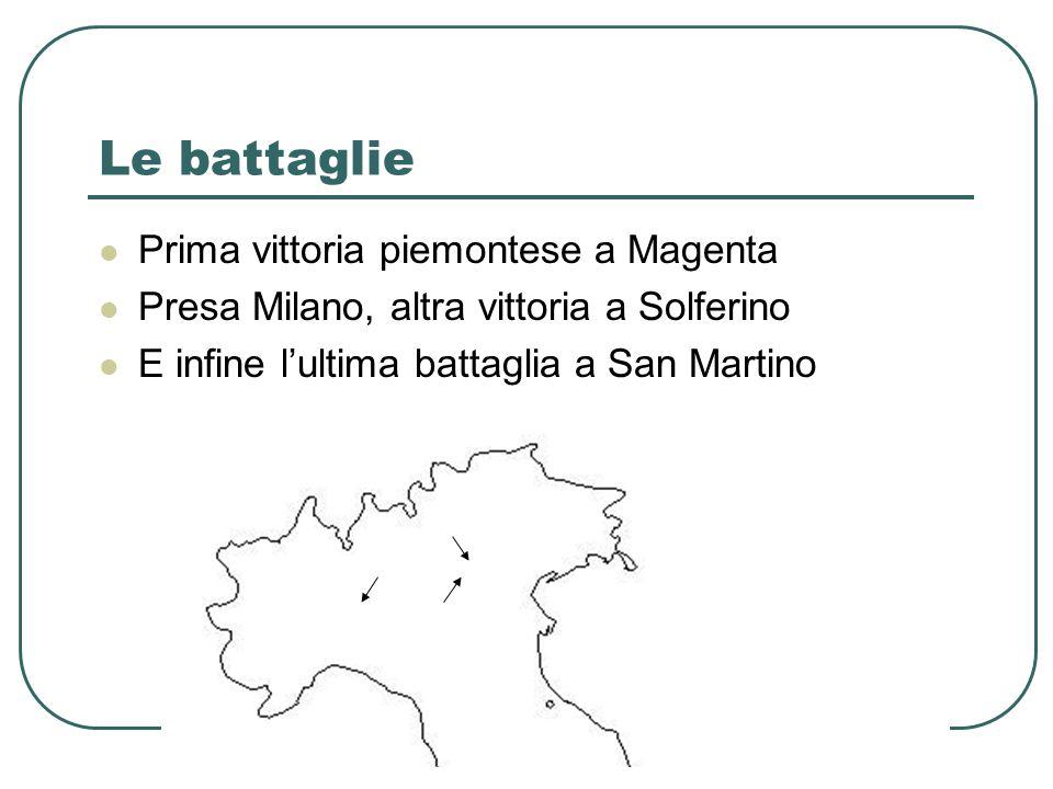 Le battaglie Prima vittoria piemontese a Magenta Presa Milano, altra vittoria a Solferino E infine lultima battaglia a San Martino