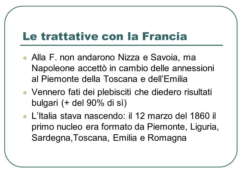 Le trattative con la Francia Alla F. non andarono Nizza e Savoia, ma Napoleone accettò in cambio delle annessioni al Piemonte della Toscana e dellEmil