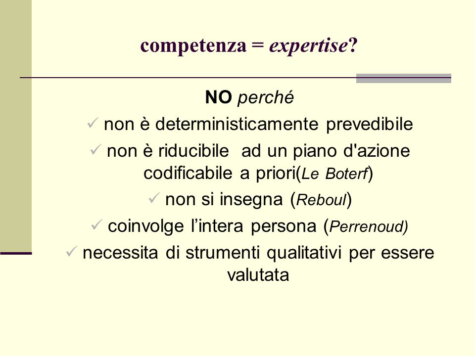 competenza = expertise.