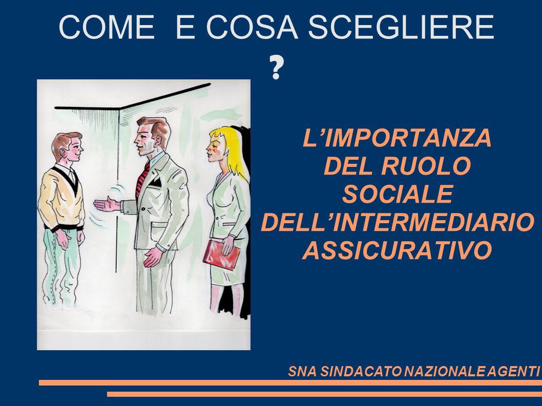 LIMPORTANZA DEL RUOLO SOCIALE DELLINTERMEDIARIO ASSICURATIVO COME E COSA SCEGLIERE ? SNA SINDACATO NAZIONALE AGENTI