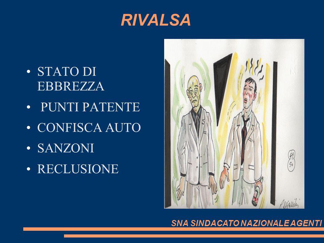 RIVALSA STATO DI EBBREZZA PUNTI PATENTE CONFISCA AUTO SANZONI RECLUSIONE SNA SINDACATO NAZIONALE AGENTI