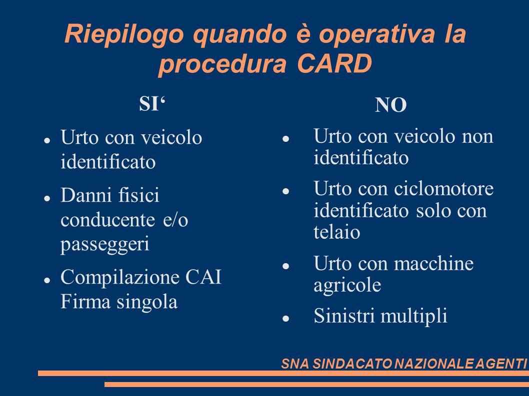 Riepilogo quando è operativa la procedura CARD SI Urto con veicolo identificato Danni fisici conducente e/o passeggeri Compilazione CAI Firma singola