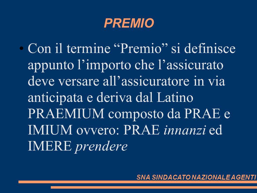 PREMIO Con il termine Premio si definisce appunto limporto che lassicurato deve versare allassicuratore in via anticipata e deriva dal Latino PRAEMIUM
