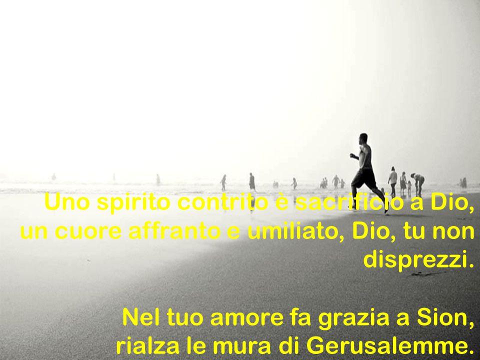 Uno spirito contrito è sacrificio a Dio, un cuore affranto e umiliato, Dio, tu non disprezzi. Nel tuo amore fa grazia a Sion, rialza le mura di Gerusa