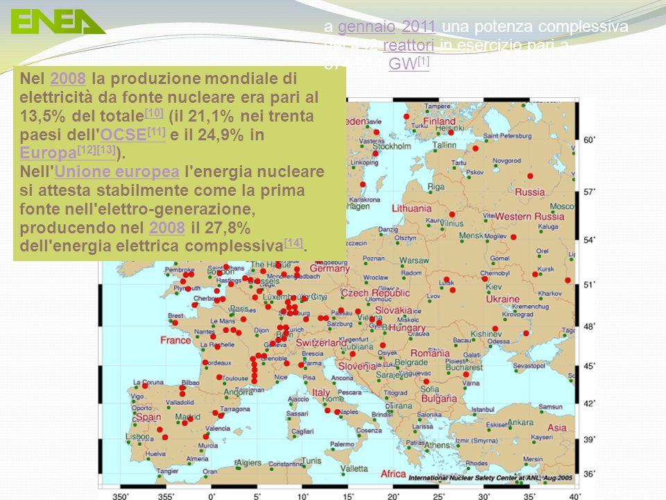 Ing. Domenico Prisinzano – CCEI di Palermo Nel 2008 la produzione mondiale di elettricità da fonte nucleare era pari al 13,5% del totale [10] (il 21,1