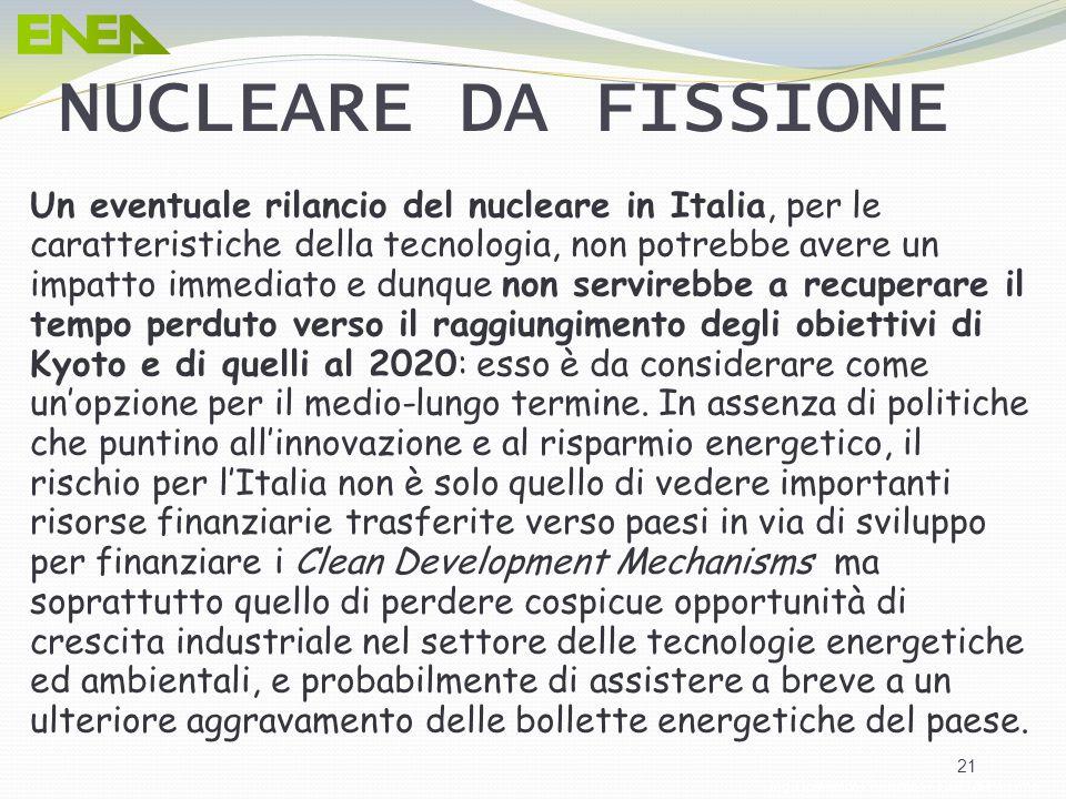 Ing. Domenico Prisinzano – CCEI di Palermo 21 Un eventuale rilancio del nucleare in Italia, per le caratteristiche della tecnologia, non potrebbe aver