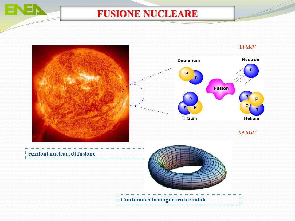 reazioni nucleari di fusione 14 MeV 3,5 MeV Confinamento magnetico toroidale FUSIONE NUCLEARE