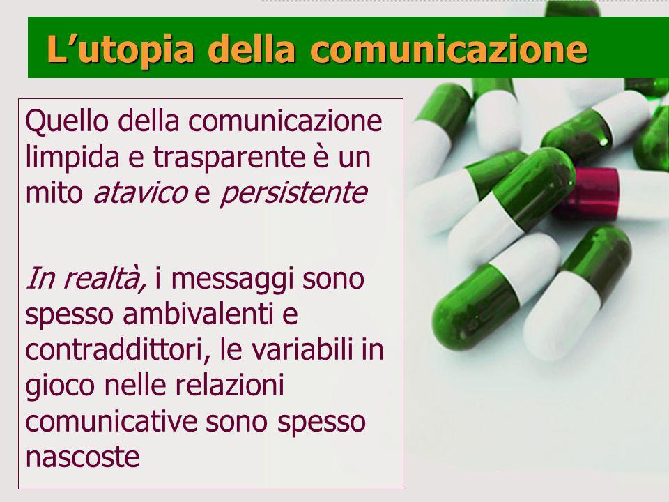 Lutopia della comunicazione Lutopia della comunicazione Quello della comunicazione limpida e trasparente è un mito atavico e persistente In realtà, i messaggi sono spesso ambivalenti e contraddittori, le variabili in gioco nelle relazioni comunicative sono spesso nascoste