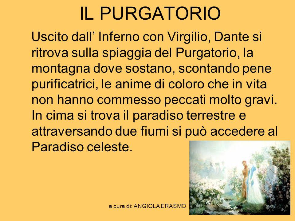 a cura di: ANGIOLA ERASMO IL PURGATORIO Uscito dall Inferno con Virgilio, Dante si ritrova sulla spiaggia del Purgatorio, la montagna dove sostano, sc