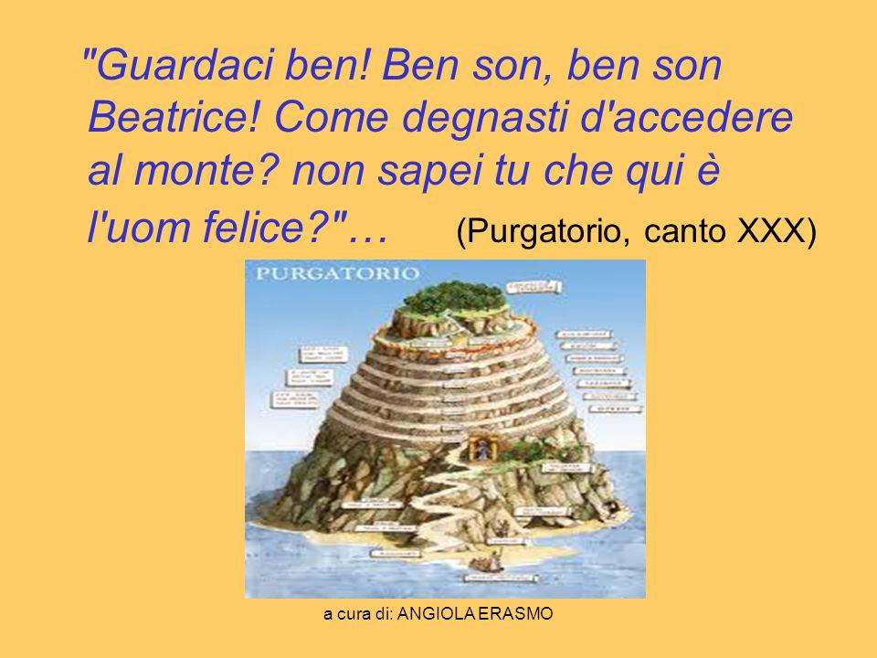 a cura di: ANGIOLA ERASMO PARADISO Lasciato Virgilio nel Purgatorio, Dante con laiuto di Beatrice, la donna che aveva sempre amato, giunge in Paradiso, il posto in cui le anime di coloro che avevano condotto una vita retta, possono godere dell eterna visione di Dio, un punto luminosissimo sopra il Primo mobile.