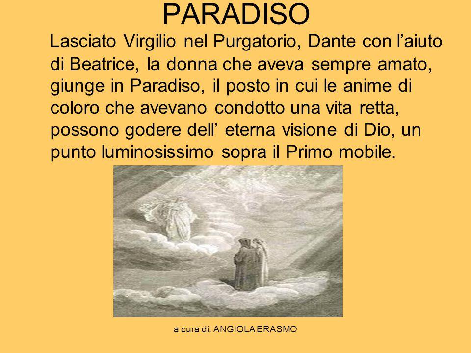 a cura di: ANGIOLA ERASMO PARADISO Lasciato Virgilio nel Purgatorio, Dante con laiuto di Beatrice, la donna che aveva sempre amato, giunge in Paradiso