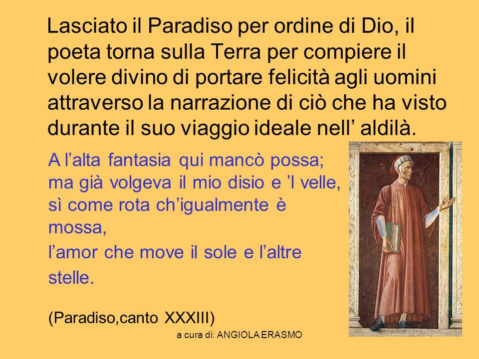 a cura di: ANGIOLA ERASMO Lasciato il Paradiso per ordine di Dio, il poeta torna sulla Terra per compiere il volere divino di portare felicità agli uo