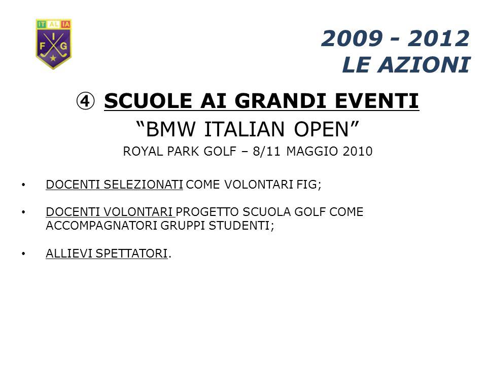 SCUOLE AI GRANDI EVENTI 2009 - 2012 LE AZIONI BMW ITALIAN OPEN ROYAL PARK GOLF – 8/11 MAGGIO 2010 DOCENTI SELEZIONATI COME VOLONTARI FIG; DOCENTI VOLONTARI PROGETTO SCUOLA GOLF COME ACCOMPAGNATORI GRUPPI STUDENTI; ALLIEVI SPETTATORI.