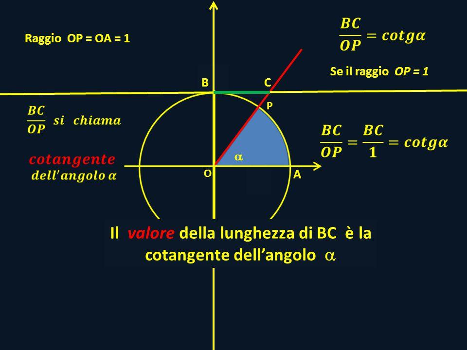 P O H Raggio OP = OA = 1 A C Se il raggio OP = 1 Il valore della lunghezza di BC è la cotangente dellangolo B