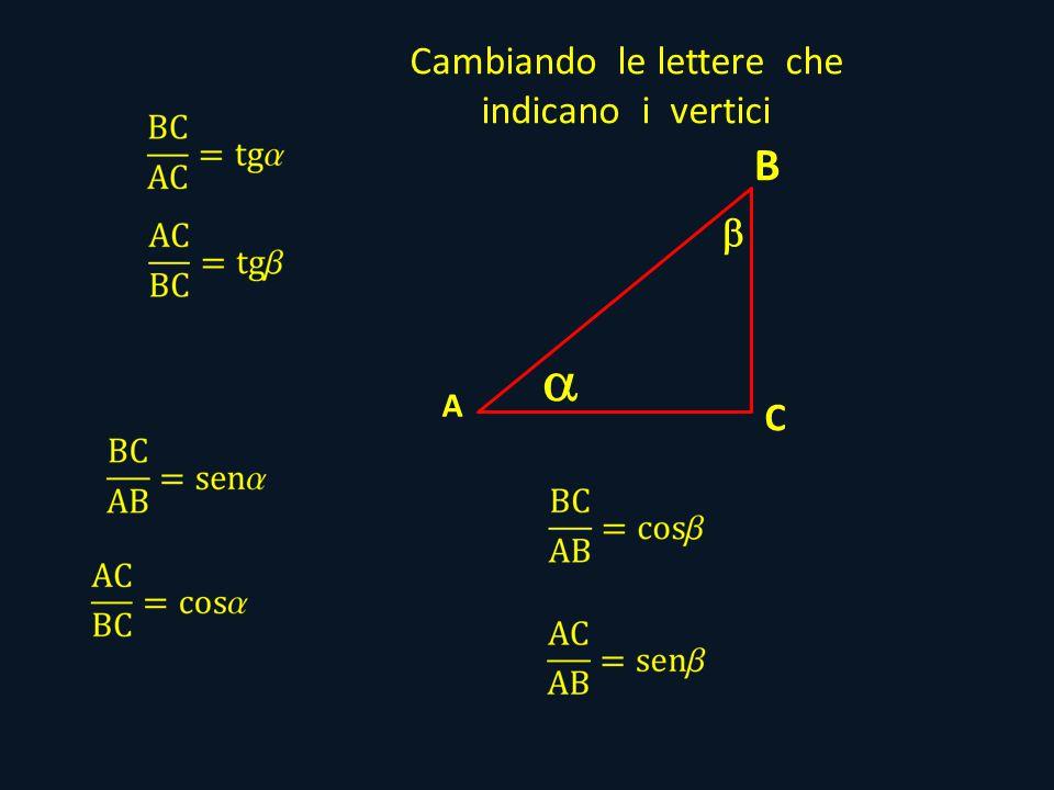 B A C Cambiando le lettere che indicano i vertici