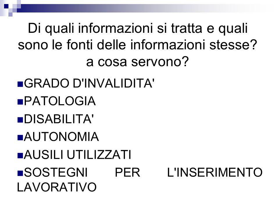 Di quali informazioni si tratta e quali sono le fonti delle informazioni stesse.
