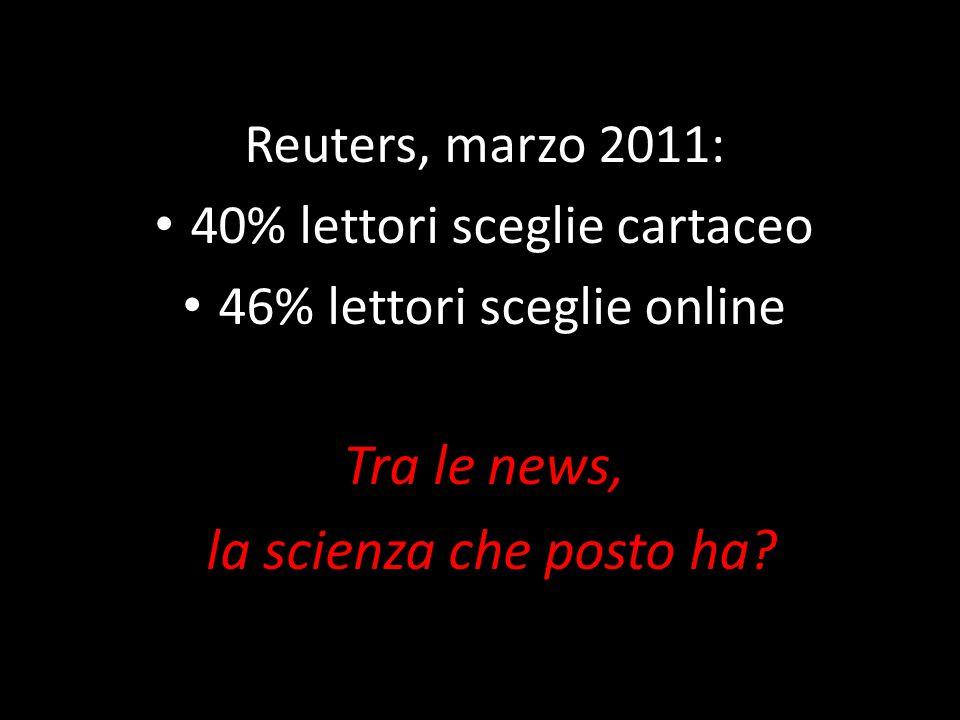 Reuters, marzo 2011: 40% lettori sceglie cartaceo 46% lettori sceglie online Tra le news, la scienza che posto ha?