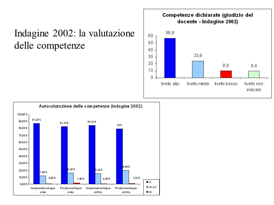 Indagine 2002: la valutazione delle competenze
