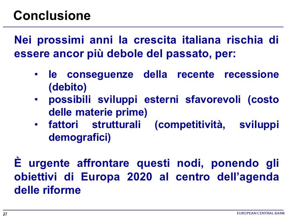 EUROPEAN CENTRAL BANK Nei prossimi anni la crescita italiana rischia di essere ancor più debole del passato, per: le conseguenze della recente recessi