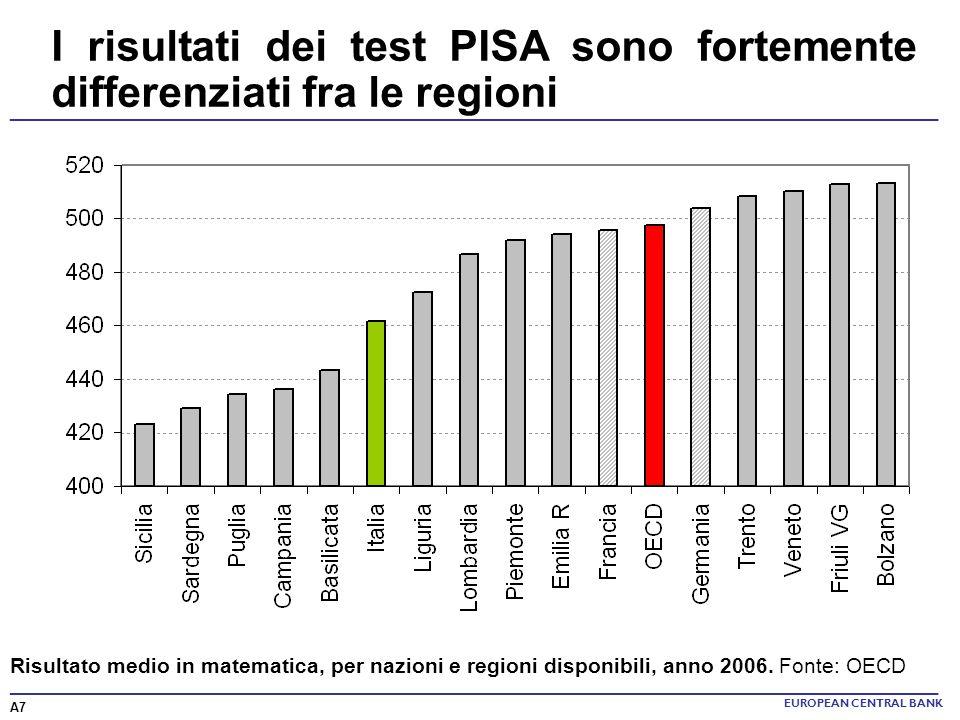 ______________________________________________________________________ I risultati dei test PISA sono fortemente differenziati fra le regioni EUROPEAN