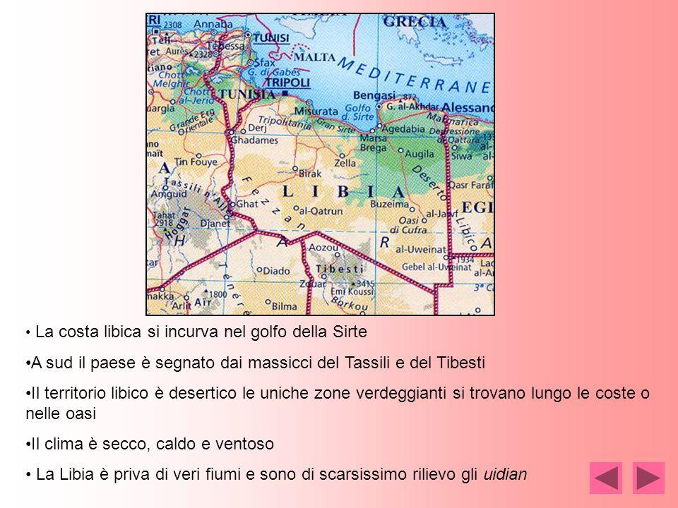 La costa libica si incurva nel golfo della Sirte A sud il paese è segnato dai massicci del Tassili e del Tibesti Il territorio libico è desertico le uniche zone verdeggianti si trovano lungo le coste o nelle oasi Il clima è secco, caldo e ventoso La Libia è priva di veri fiumi e sono di scarsissimo rilievo gli uidian