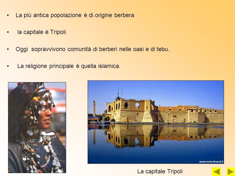 La più antica popolazione è di origine berbera la capitale è Tripoli Oggi sopravvivono comunità di berberi nelle oasi e di tebu.