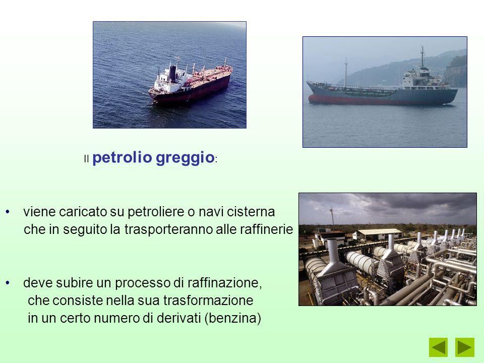 Il petrolio greggio : viene caricato su petroliere o navi cisterna che in seguito la trasporteranno alle raffinerie deve subire un processo di raffinazione, che consiste nella sua trasformazione in un certo numero di derivati (benzina)