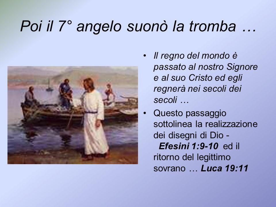 Poi il 7° angelo suonò la tromba … Il regno del mondo è passato al nostro Signore e al suo Cristo ed egli regnerà nei secoli dei secoli … Questo passa